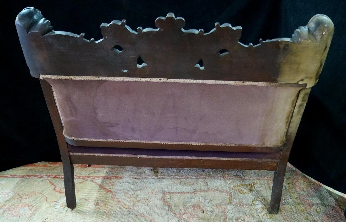 VICTORIAN CARVED FIGURAL SETTEE - 10