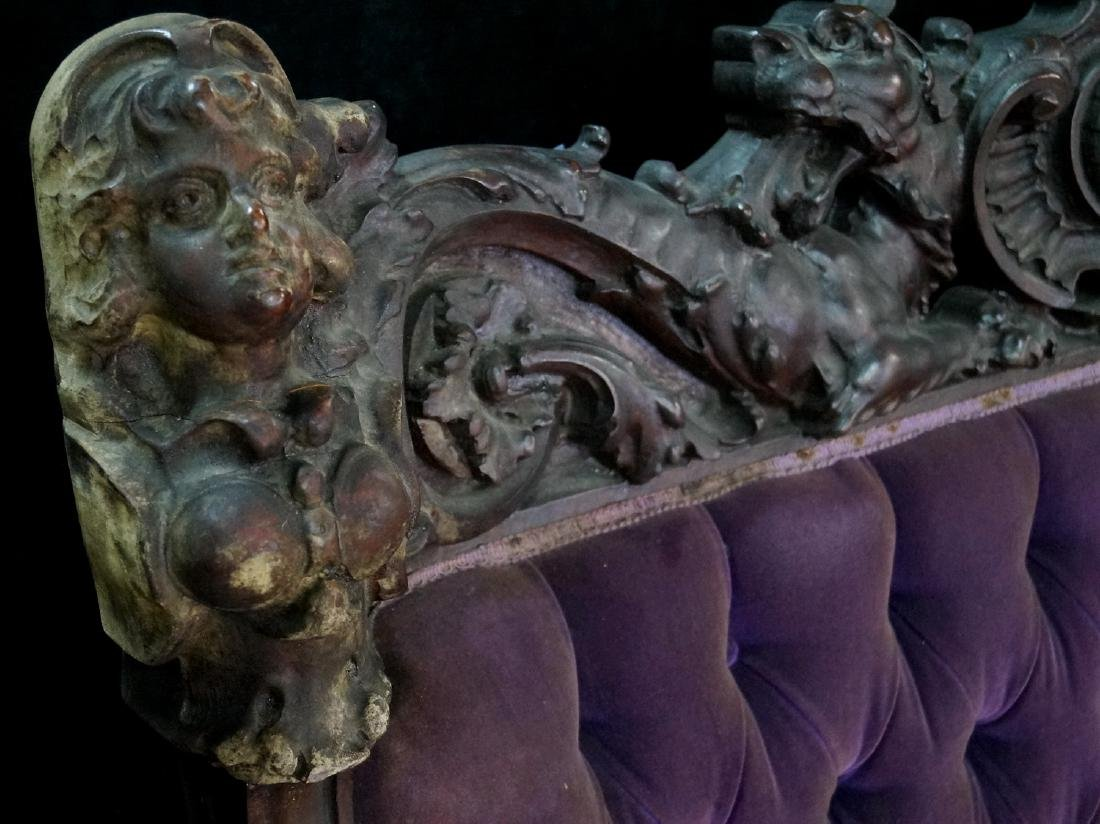 VICTORIAN CARVED FIGURAL SETTEE - 2