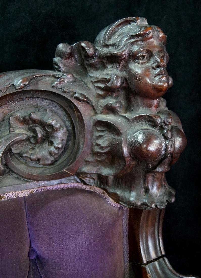 VICTORIAN CARVED FIGURAL SETTEE - 4
