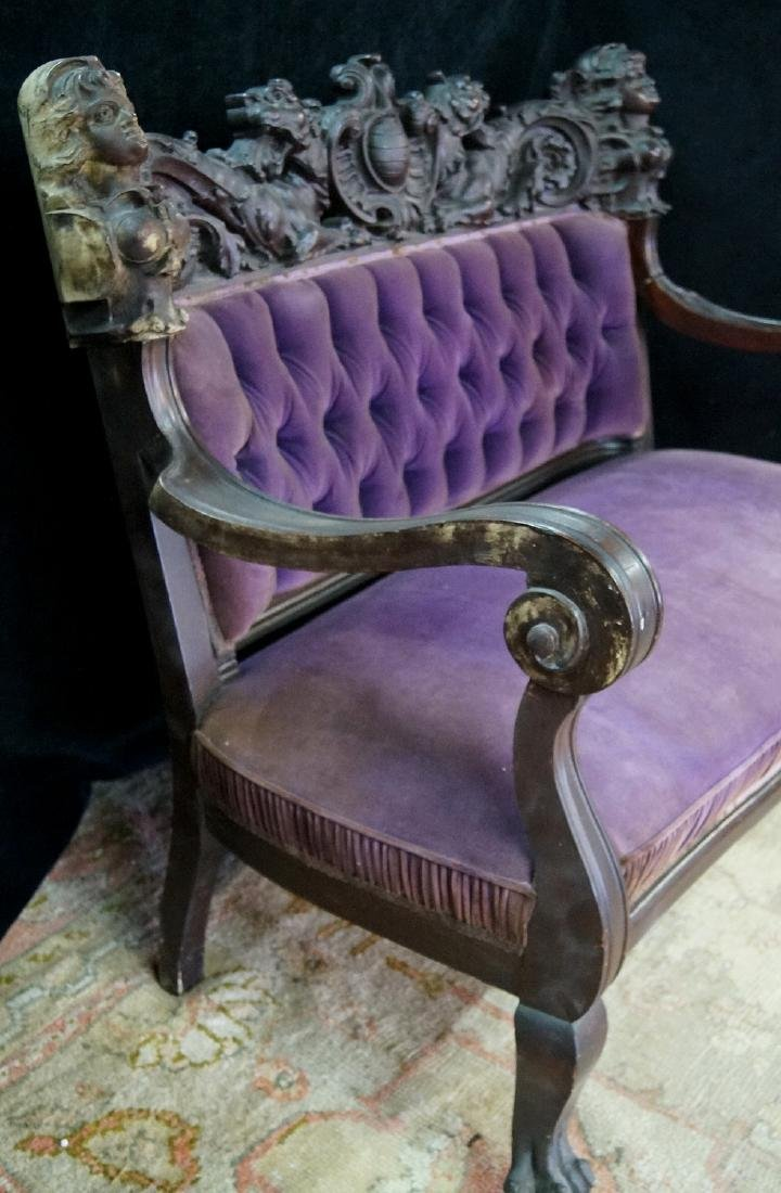 VICTORIAN CARVED FIGURAL SETTEE - 7