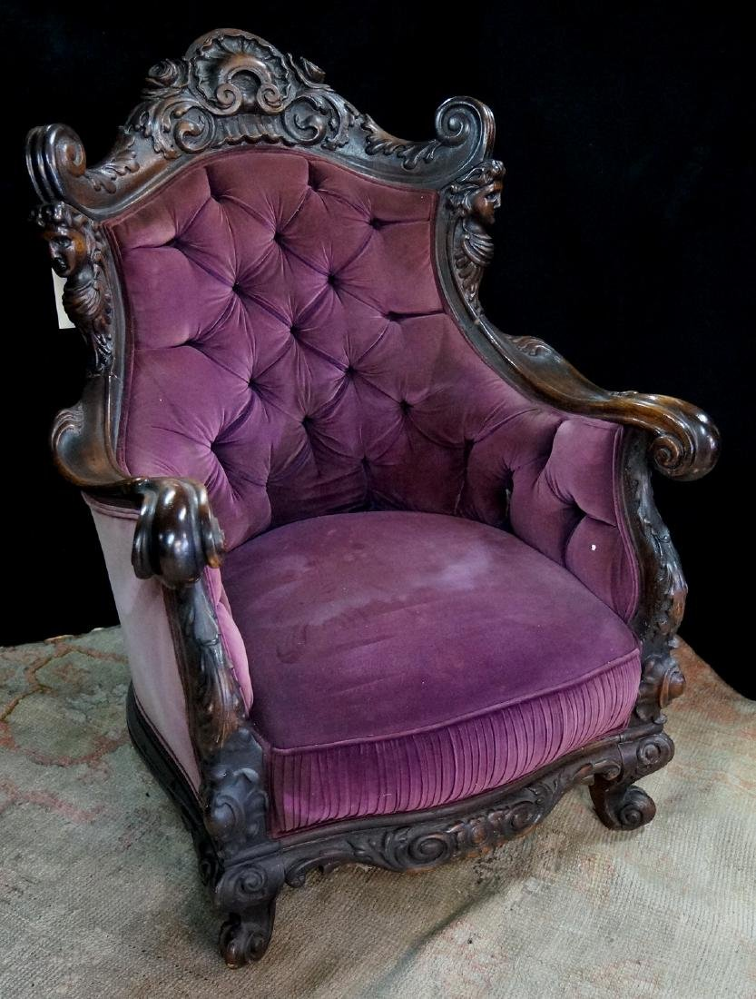 CARVED FIGURAL ARM CHAIR
