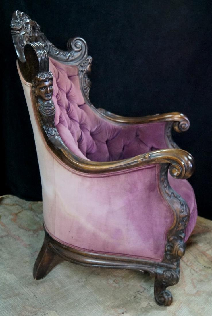 CARVED FIGURAL ARM CHAIR - 4