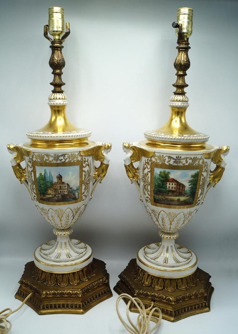 PR. GILT & PAINTED PORCELAIN FIGURAL LAMPS