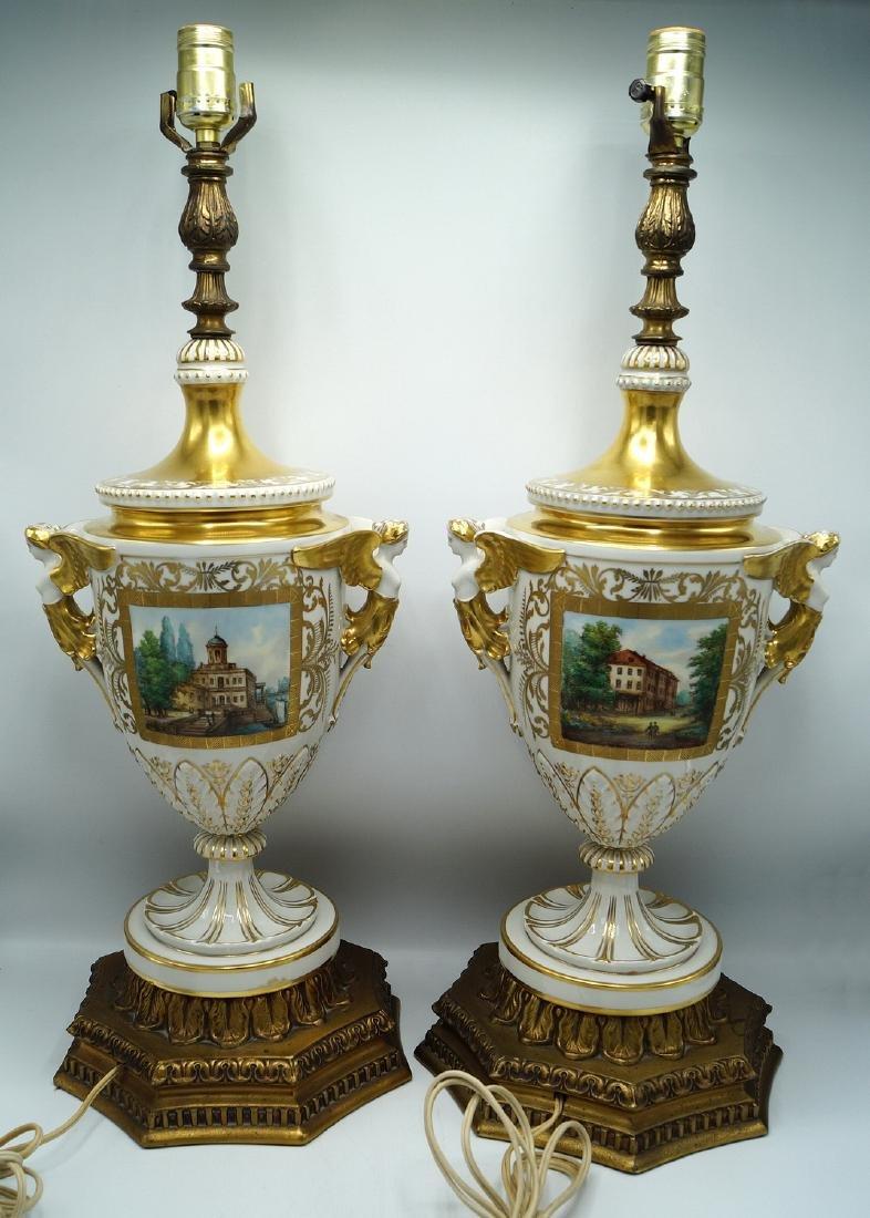 PR. GILT & PAINTED PORCELAIN FIGURAL LAMPS