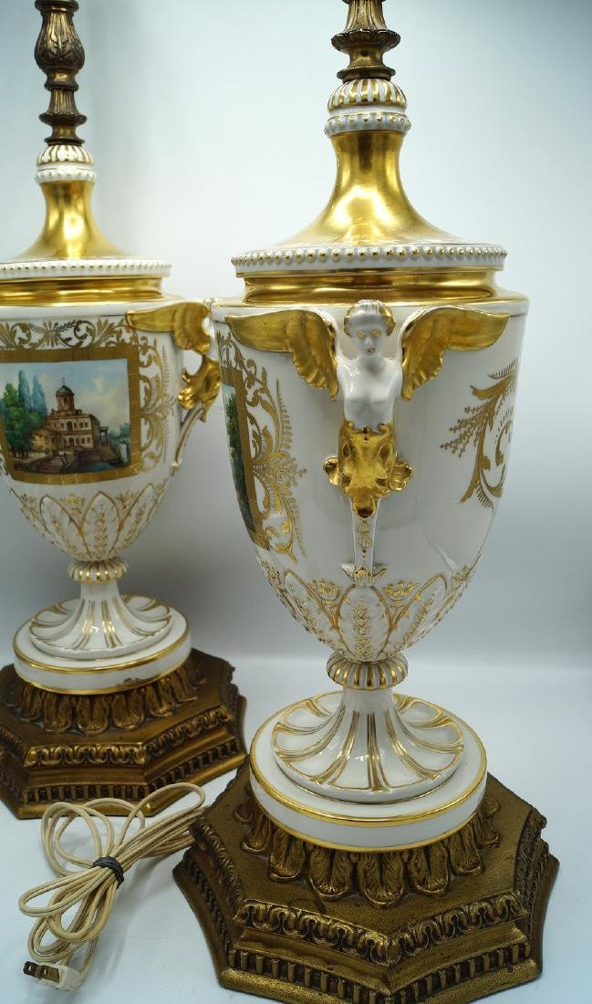 PR. GILT & PAINTED PORCELAIN FIGURAL LAMPS - 2