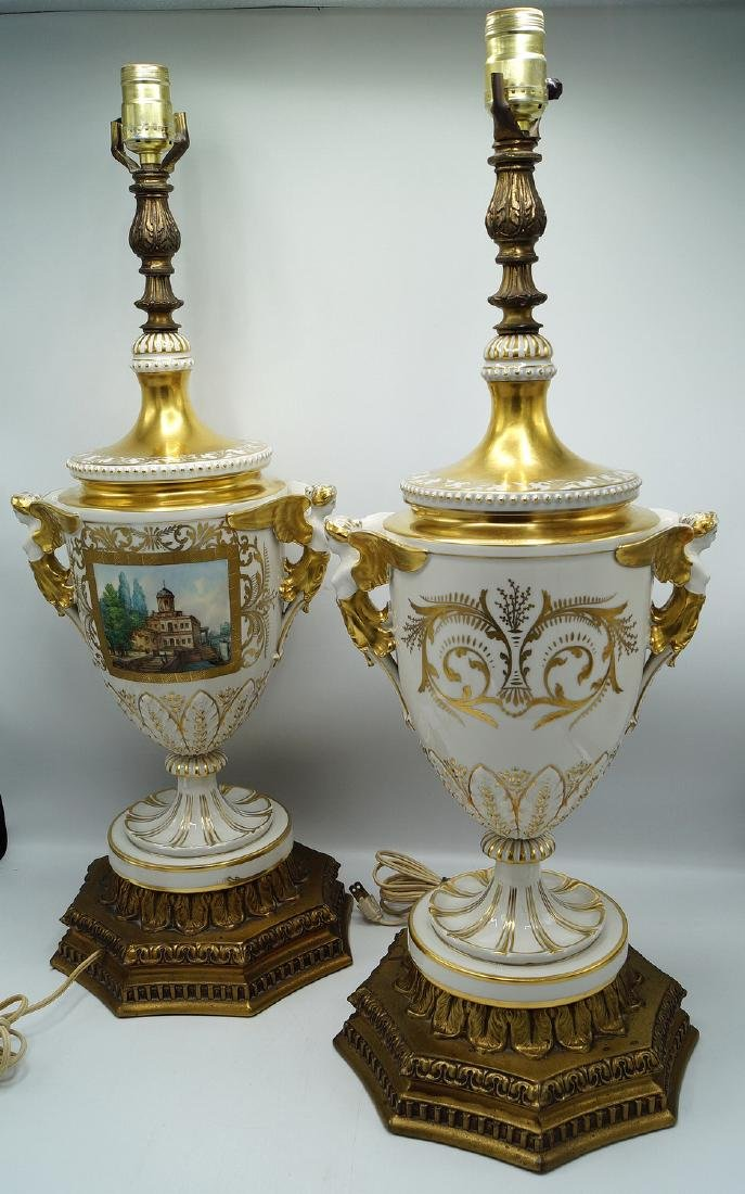 PR. GILT & PAINTED PORCELAIN FIGURAL LAMPS - 3