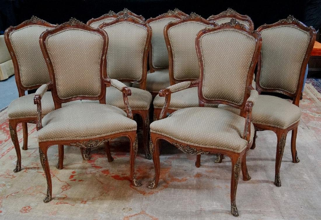 SET 12 LOUIS XV STYLE BRONZE MOUNTED CHAIRS