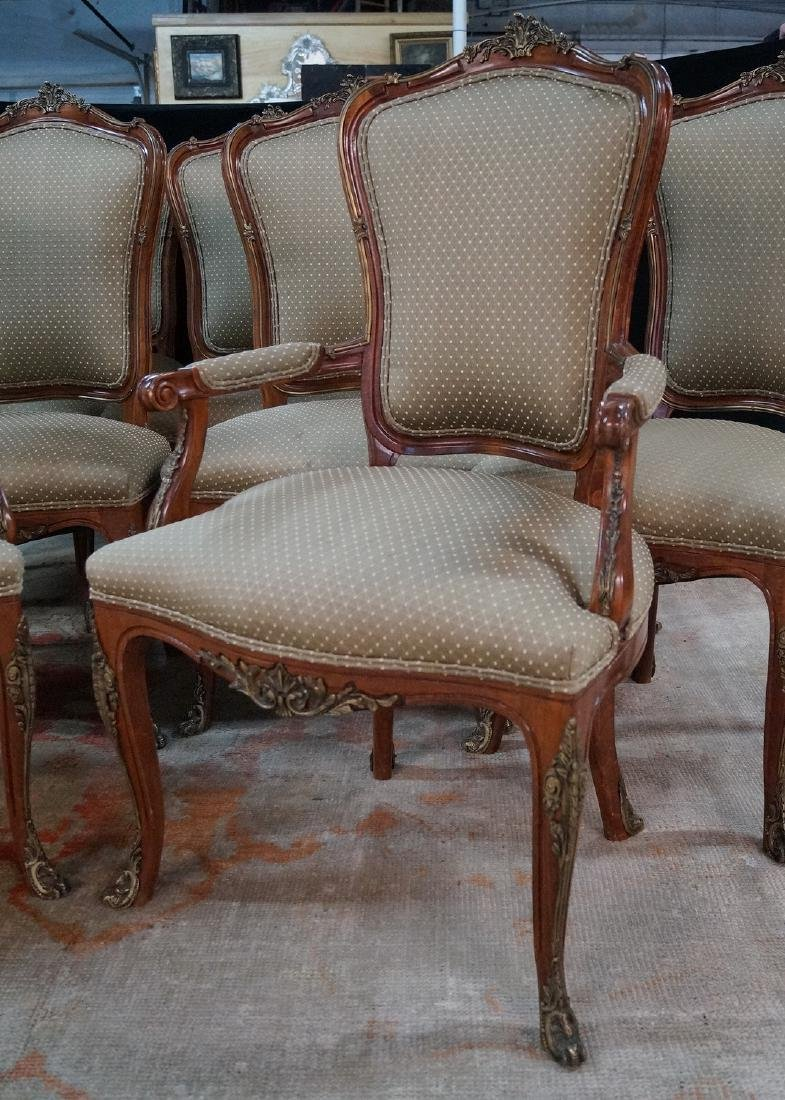 SET 12 LOUIS XV STYLE BRONZE MOUNTED CHAIRS - 2