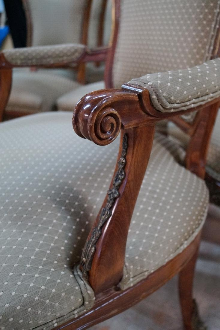 SET 12 LOUIS XV STYLE BRONZE MOUNTED CHAIRS - 4