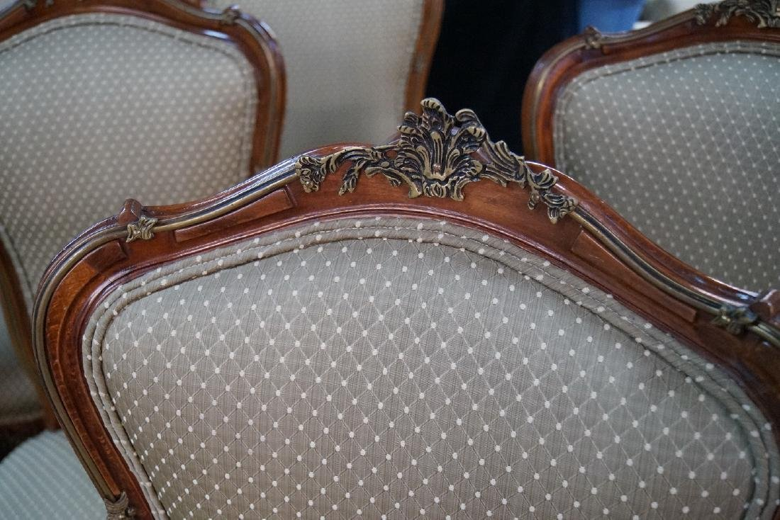 SET 12 LOUIS XV STYLE BRONZE MOUNTED CHAIRS - 5