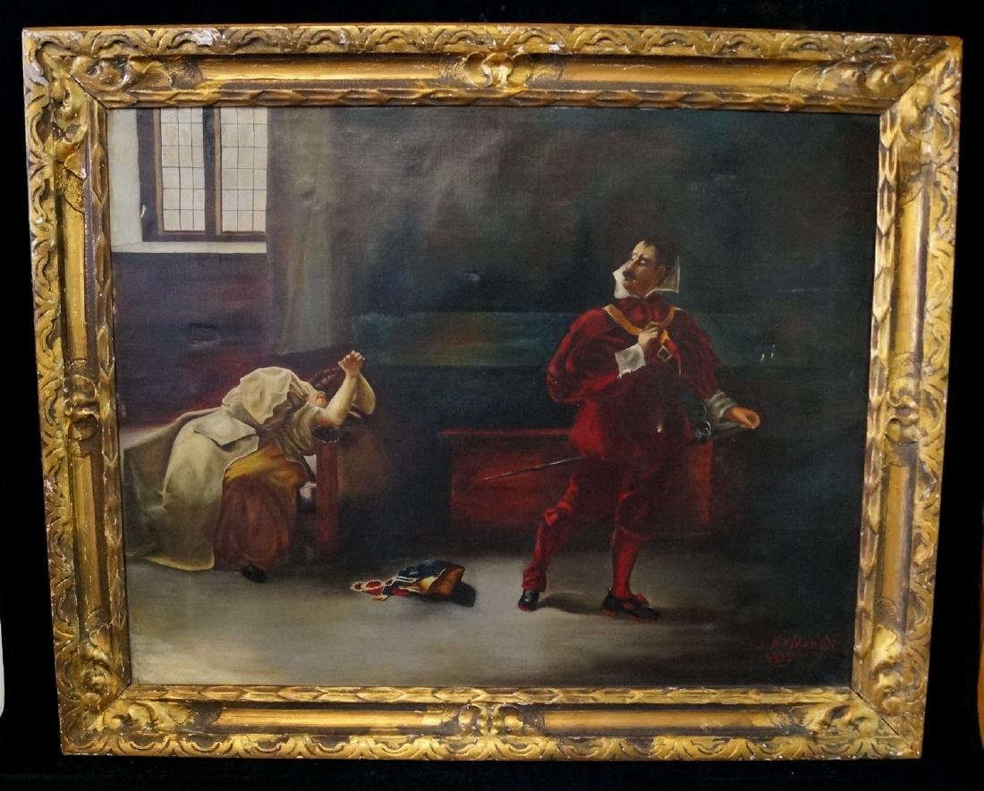 """MCMAHON SGN. OIL ON CANVAS """"GENTLEMAN IN RED"""""""