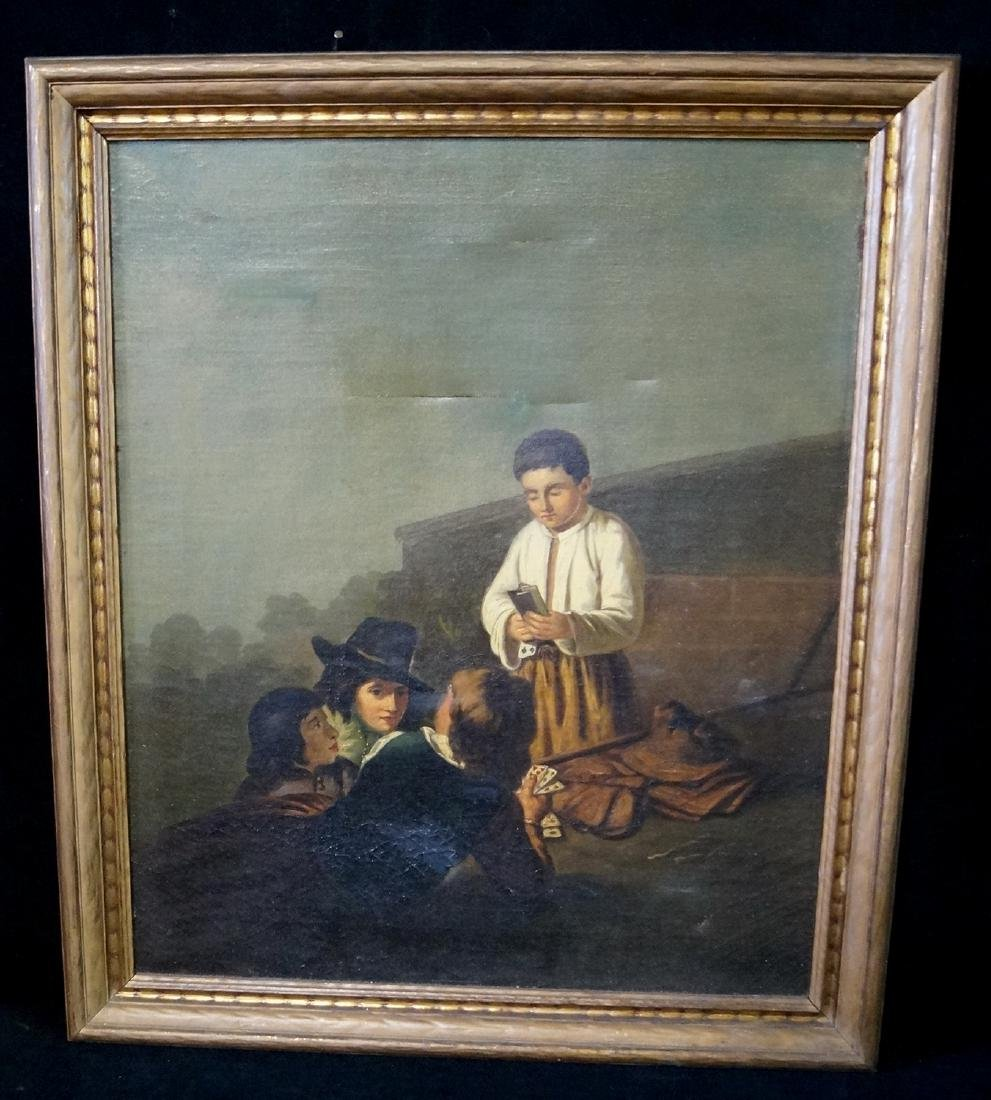 """19TH C. OIL ON CANVAS """"BOY PLAYING CARDS"""""""