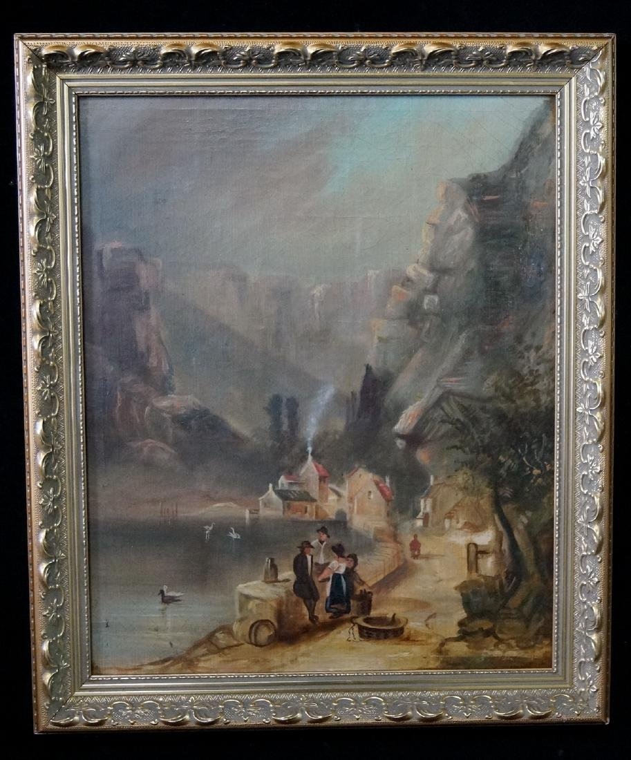 OIL ON BOARD LANDSCAPE LAKESIDE MOUNTAIN VILLAGE WITH