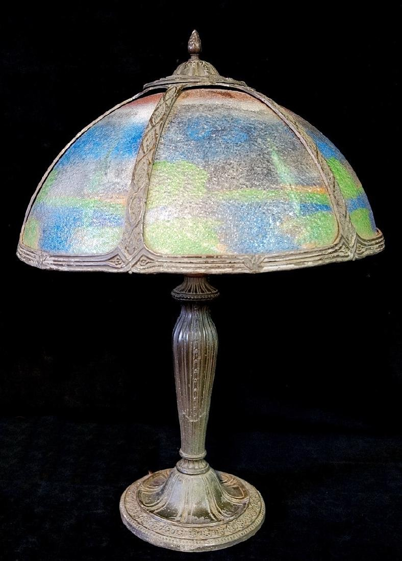 REVERSE PAINTED ART NOUVEAU TABLE LAMP