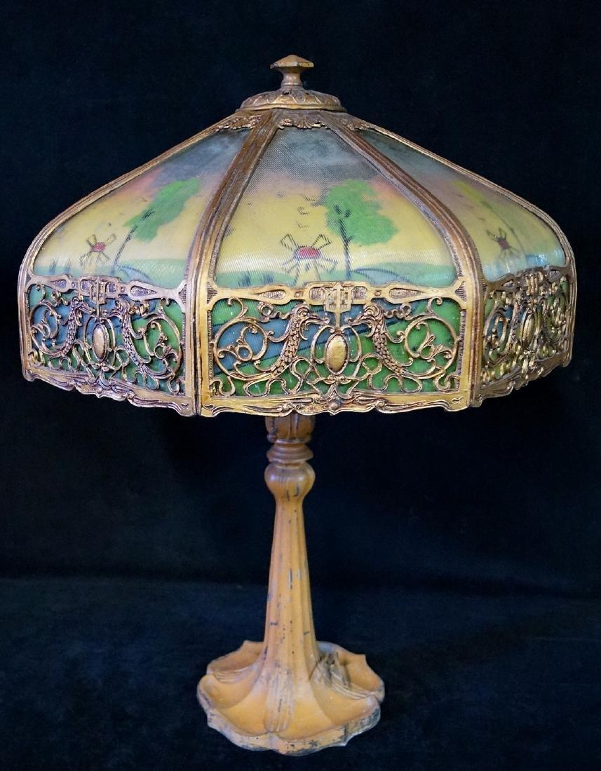 ART NOUVEAU SCENIC TABLE LAMP (WINDMILLS)
