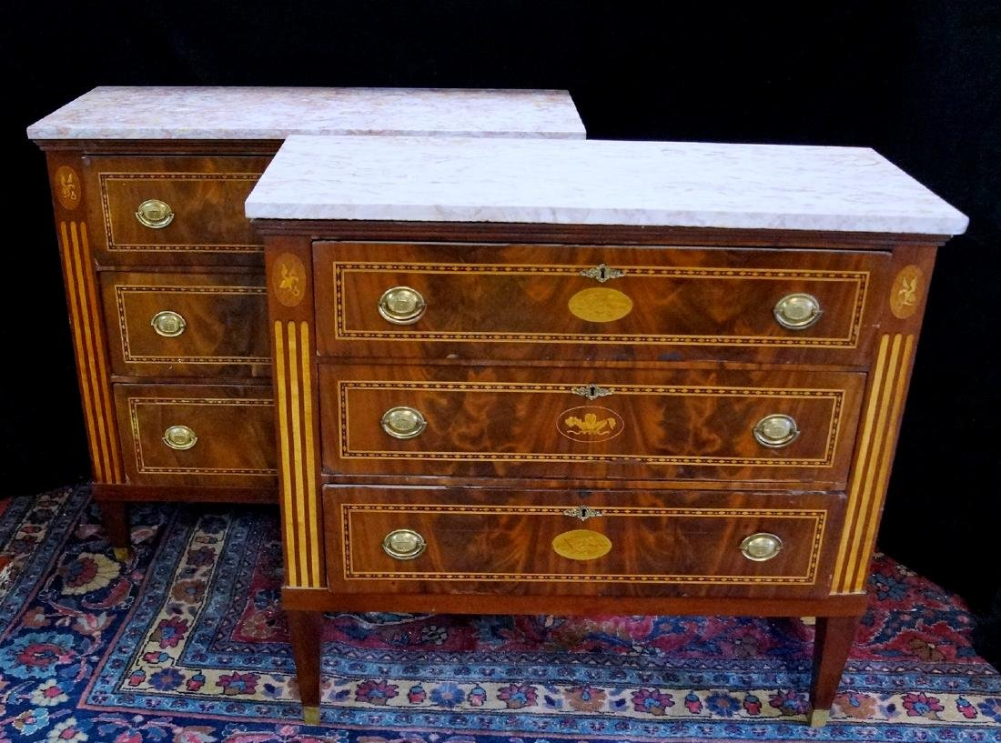 PR. INLAID CONTINENTAL MARBLE TOP CHESTS