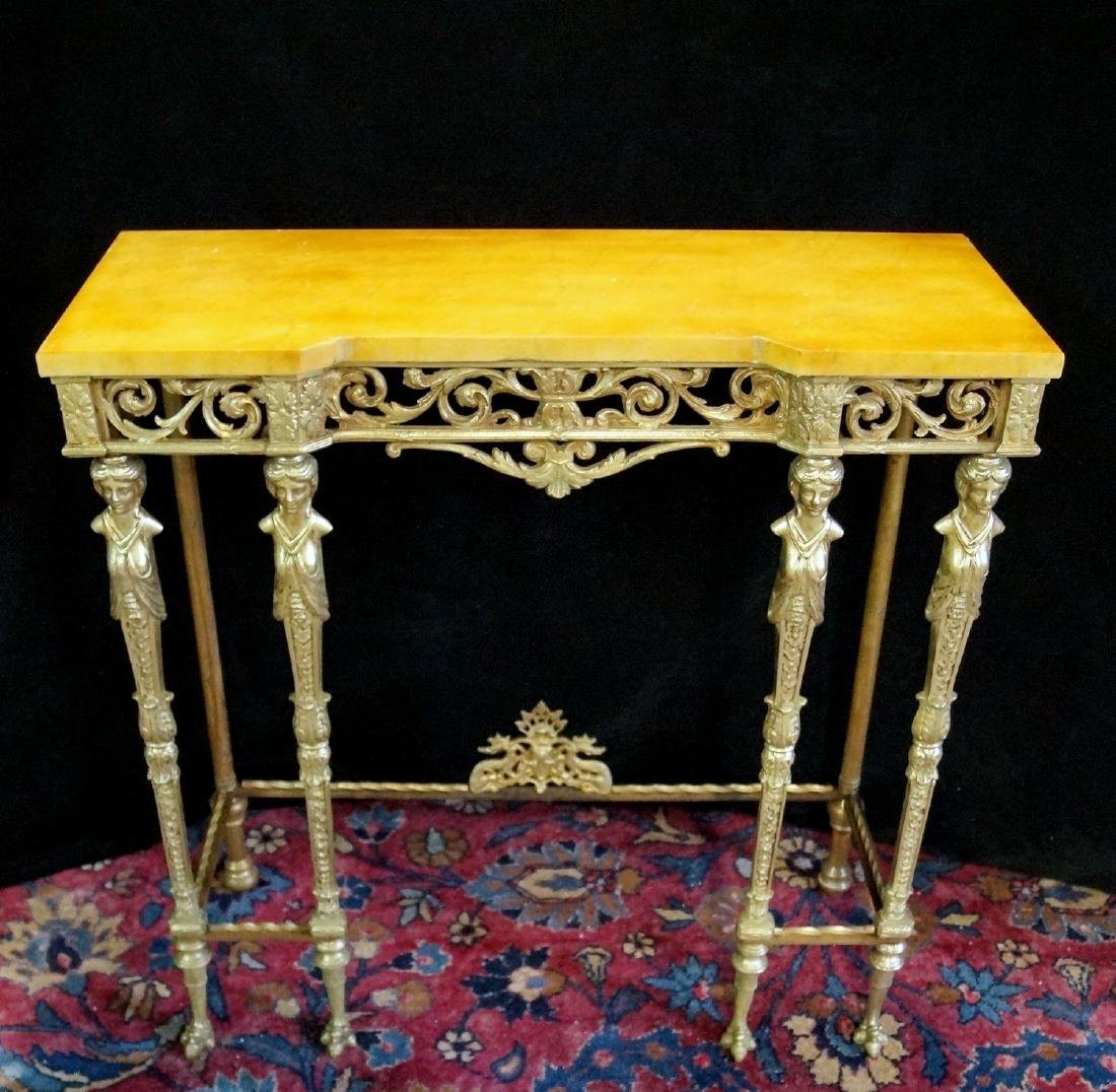 FIGURAL BRONZE MOUNTED CONSOLE