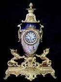 SEVRES PORCELAIN & BRONZE CLOCK SGN. JOS. SEYMOUR & CO.