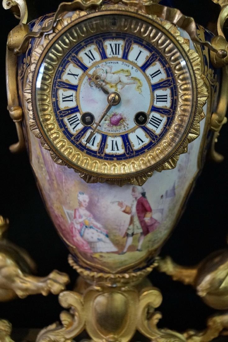 SEVRES PORCELAIN & BRONZE CLOCK SGN. JOS. SEYMOUR & CO. - 5
