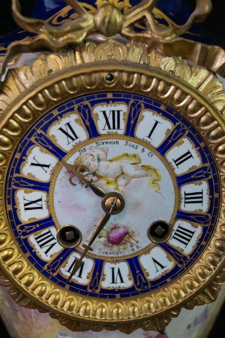 SEVRES PORCELAIN & BRONZE CLOCK SGN. JOS. SEYMOUR & CO. - 6