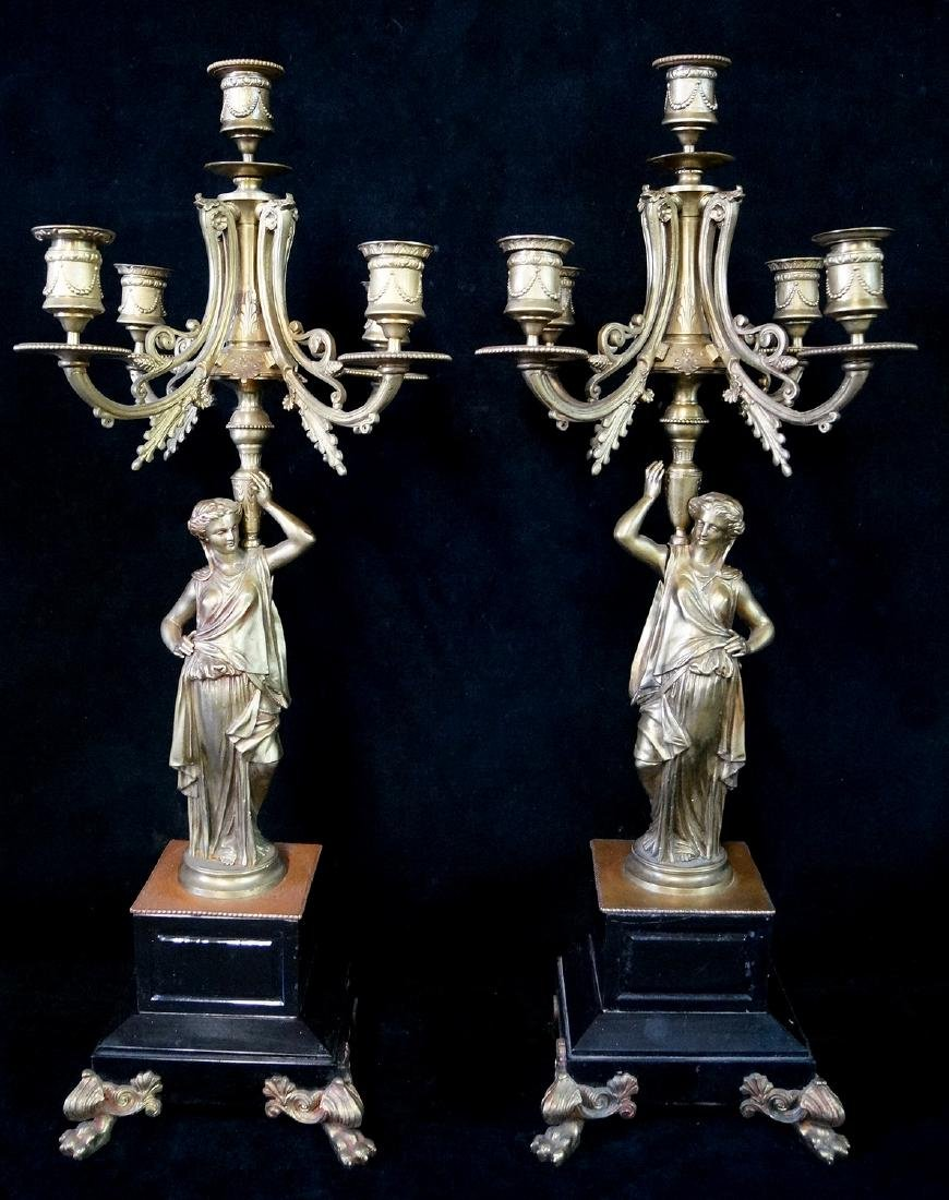 PR. FIGURAL BRONZE & MARBLE CANDELABRA LAMPS