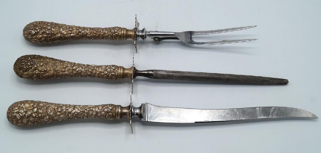 STIEFF (?) STERLING 3PC. CARVING SET