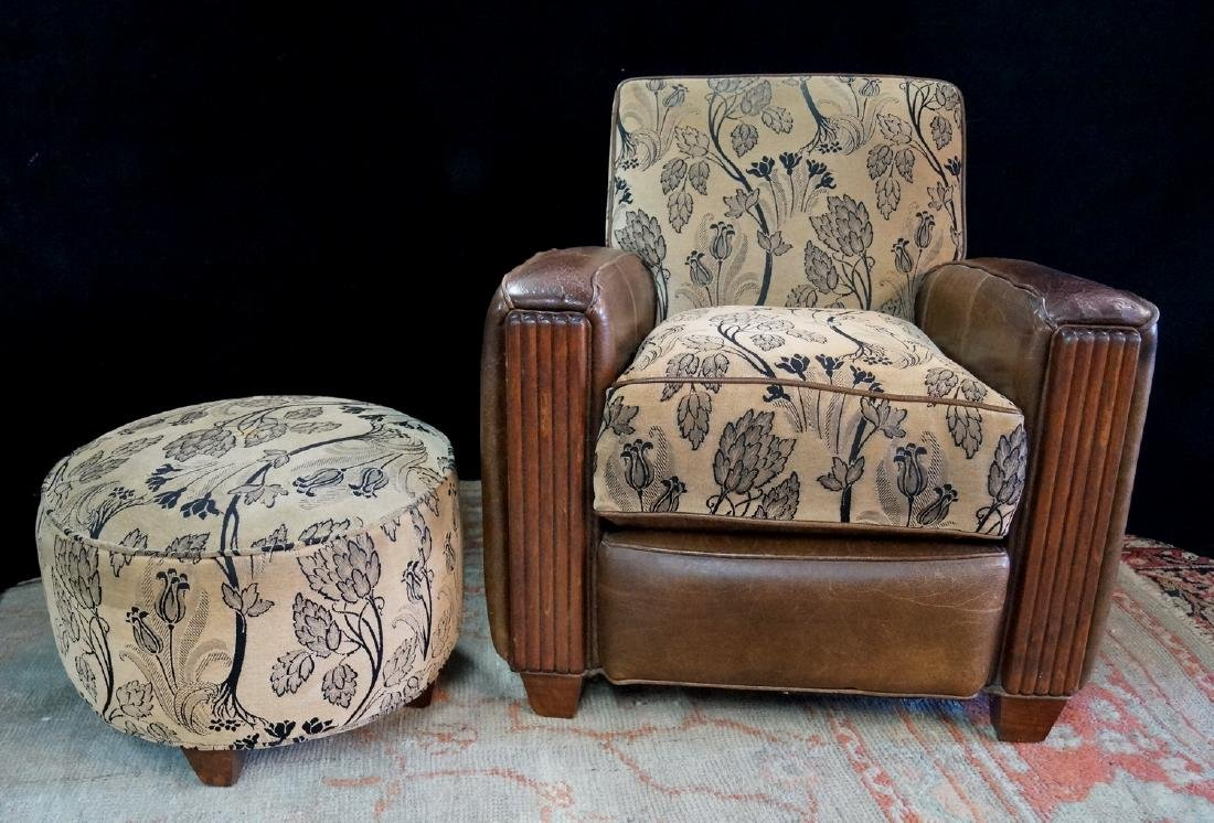 LEATHER & UPHOLSTERED CLUB CHAIR & OTTOMAN