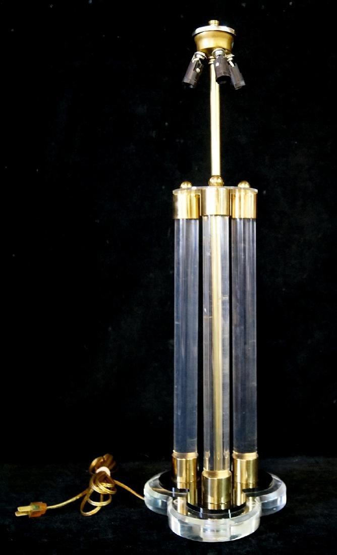 MID CENTURY BRASS & LUCITE LAMP