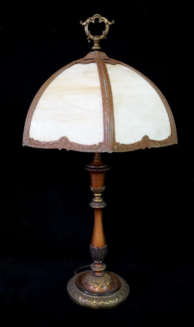 ART NOUVEAU SLAG GLASS CURVED SHADE TABLE LAMP