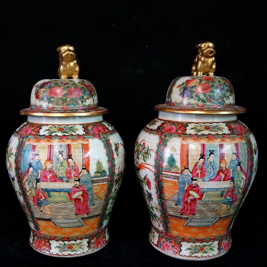 PR. ORIENTAL PORCELAIN COVERED JARS