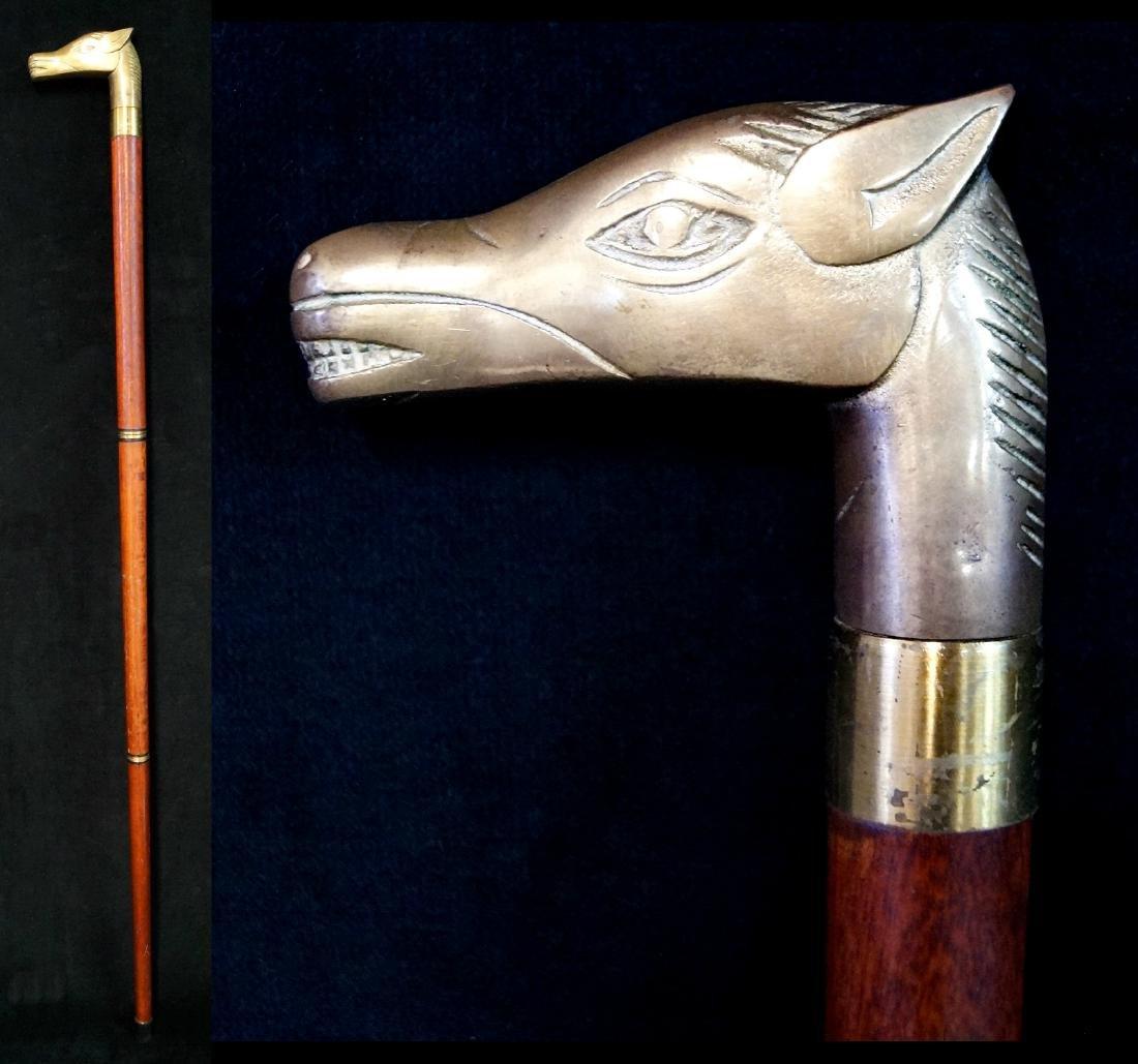 BRASS HORSE CANE W/FLASK
