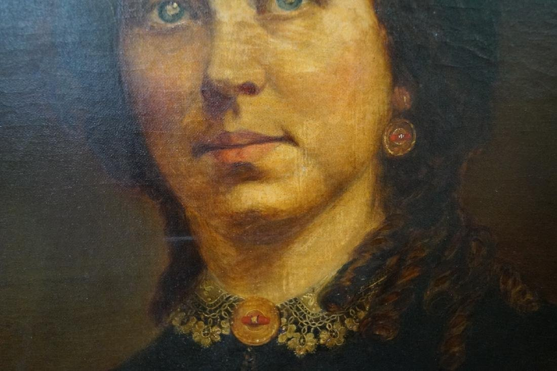 OIL ON BOARD PORTRAIT OF A WOMAN W/ EARRINGS - 3