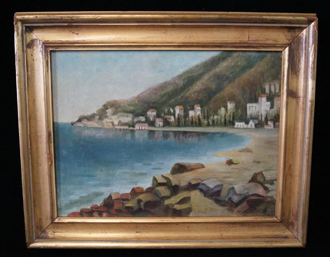 OIL ON CANVAS SGN. PASTERNAK COASTAL LANDSCAPE