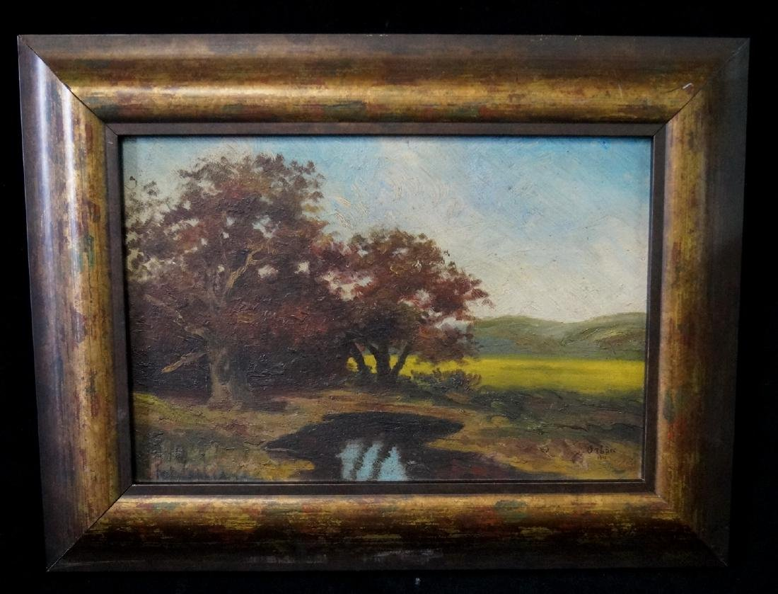 OIL ON BOARD BEARS SIGNATURE ORBAN LANDSCAPE WITH 2