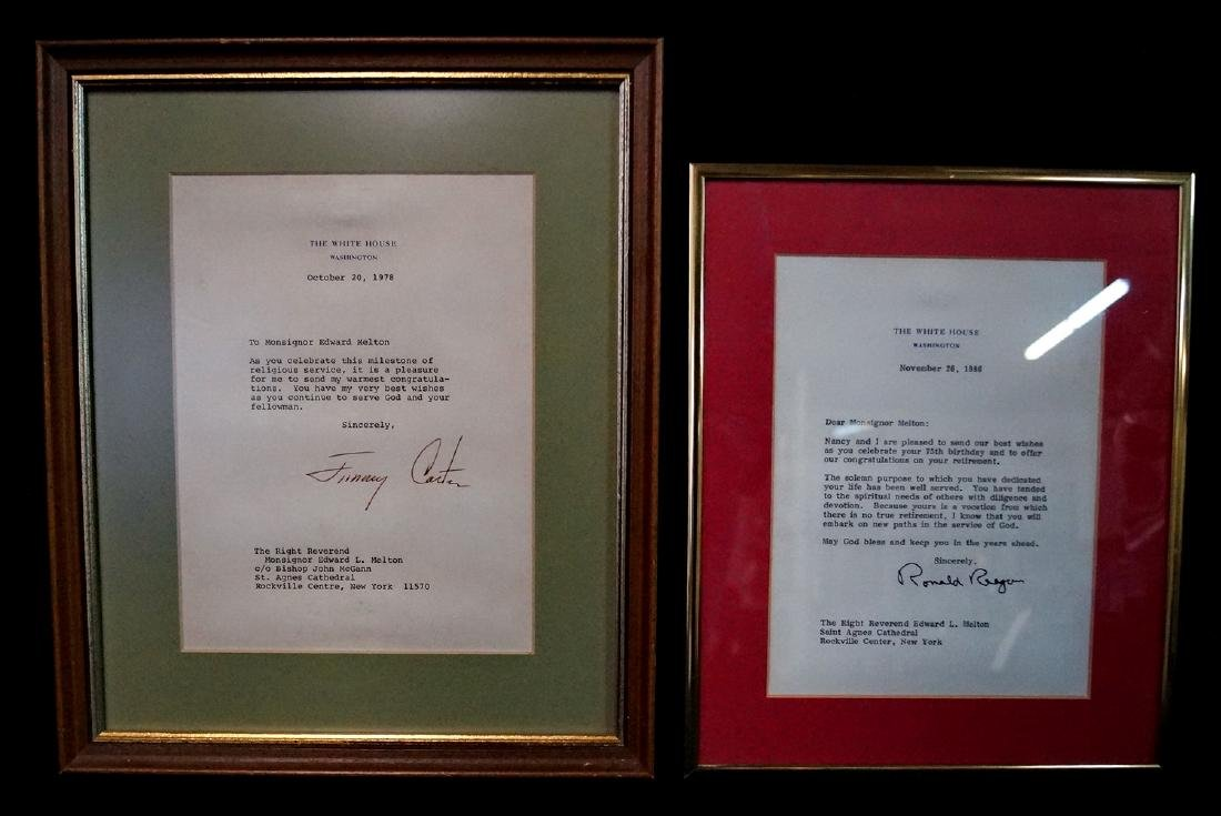 SGN. LETTERS RONALD REAGAN & JIMMY CARTER
