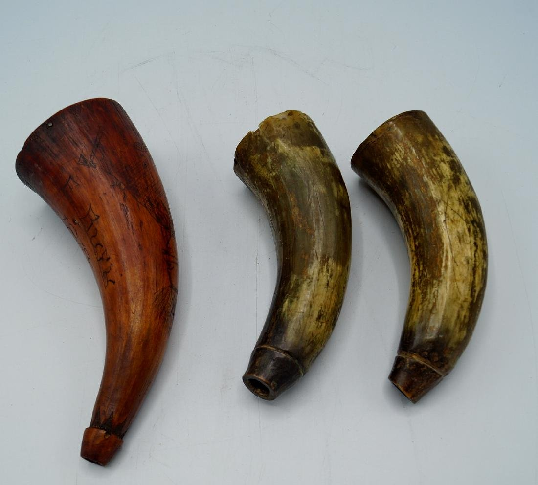 3 POWDER HORNS 1 INSCRIBED 1815