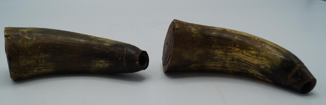 3 POWDER HORNS 1 INSCRIBED 1815 - 8