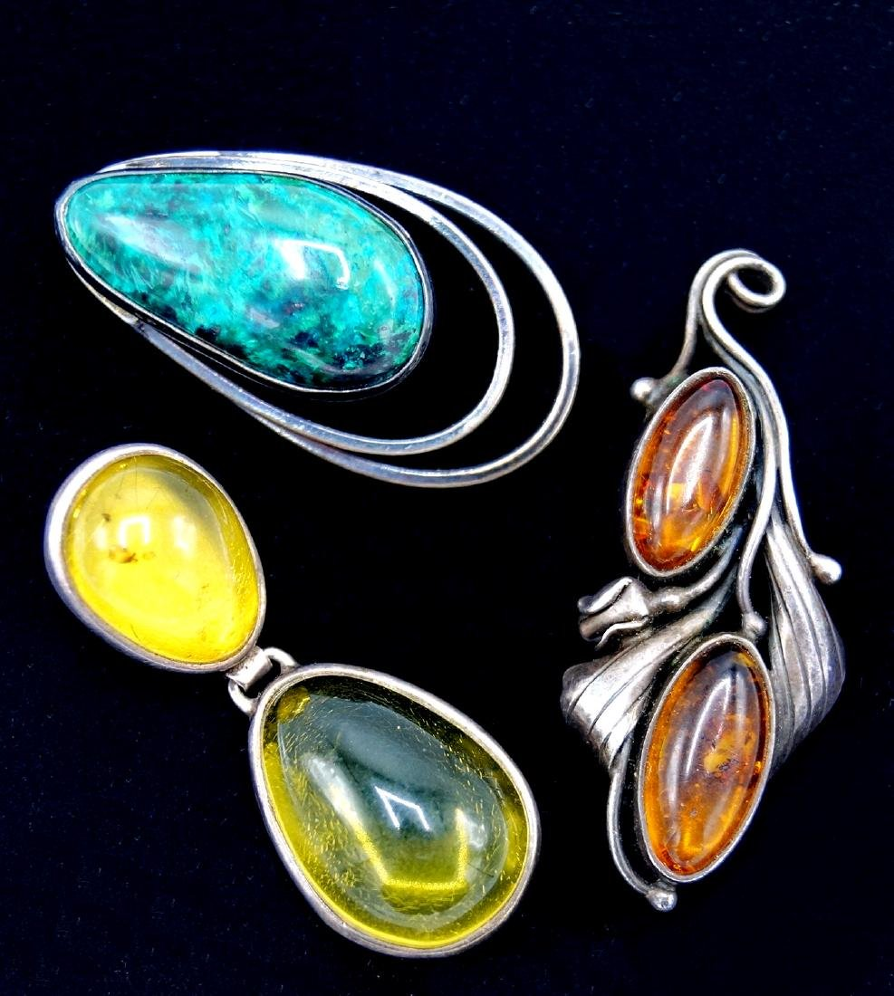GROUP 3 STERLING PENDANTS SET W/STONES INC. AMBER