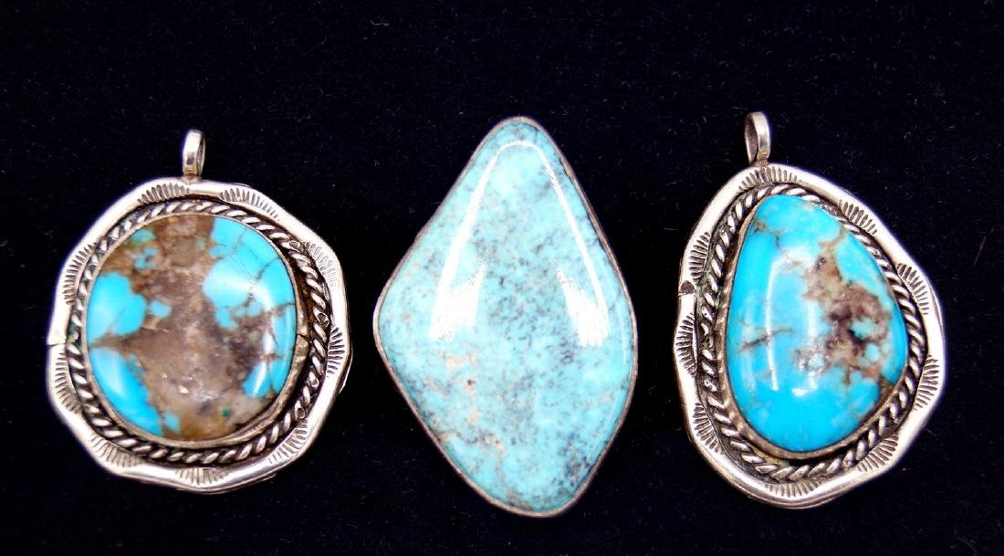 3 TURQUOISE & STERLING PENDANTS