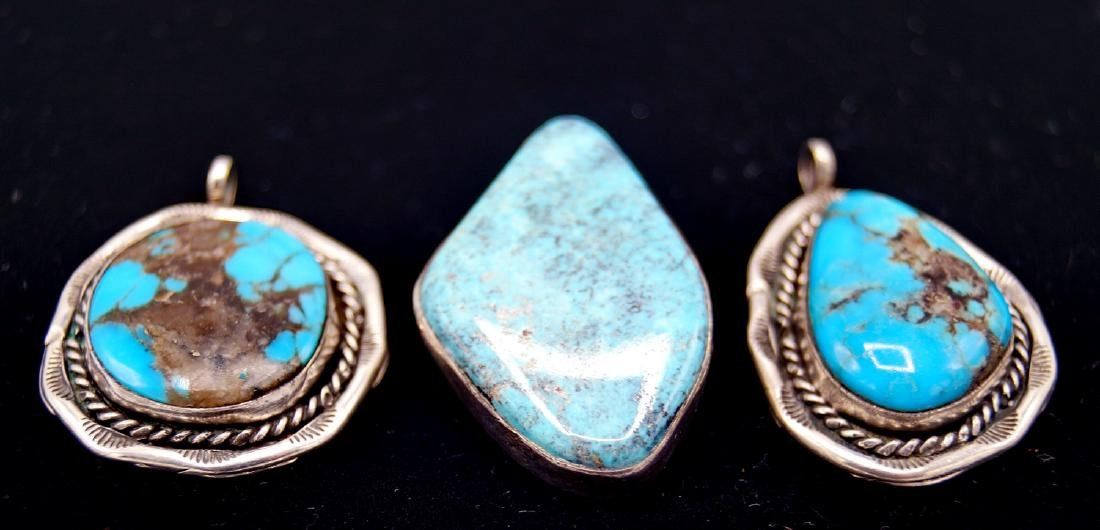 3 TURQUOISE & STERLING PENDANTS - 2