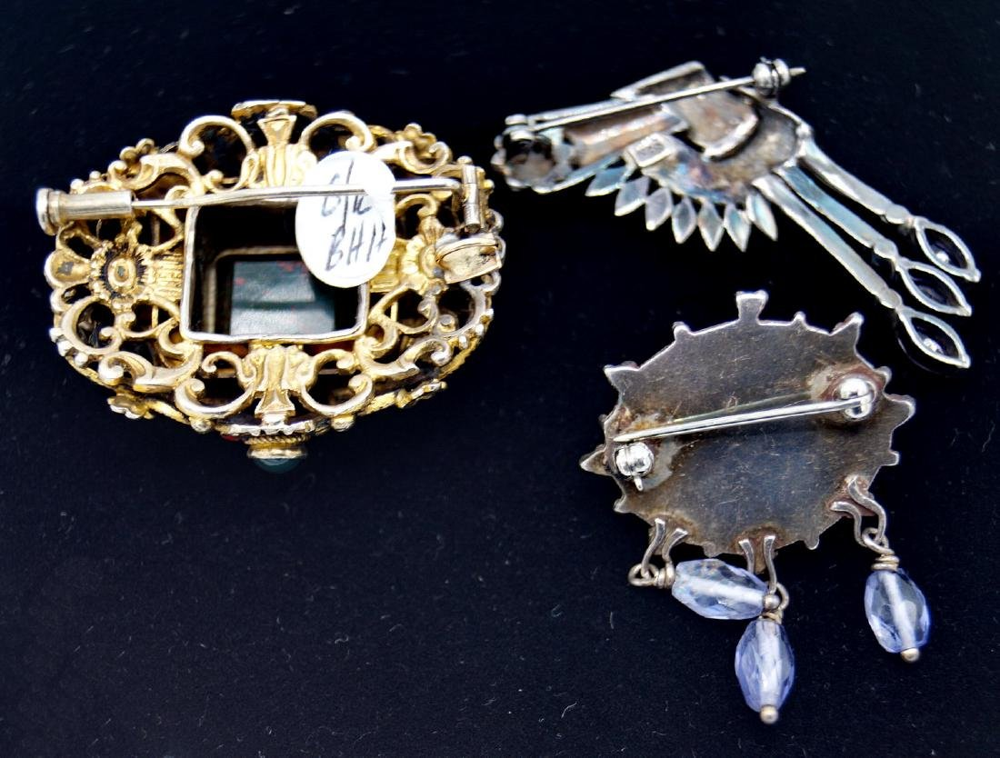 3 STERLING BROOCHES - 3