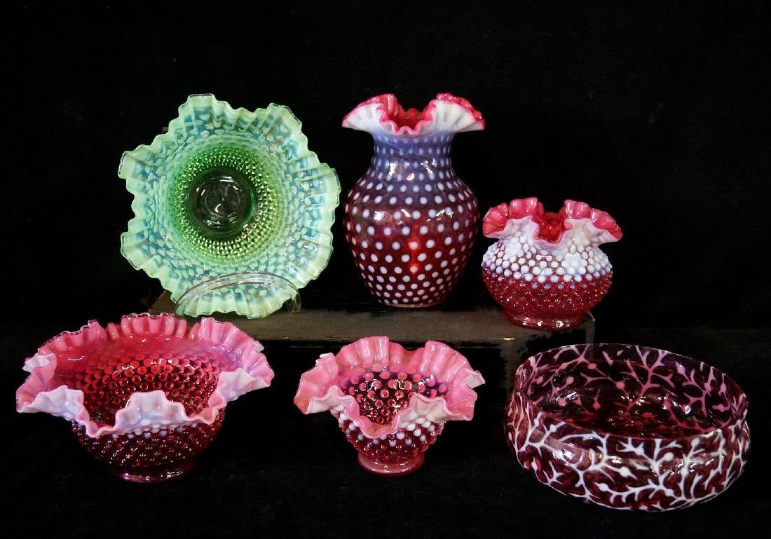 LOT CRANBERRY FENTON GLASS