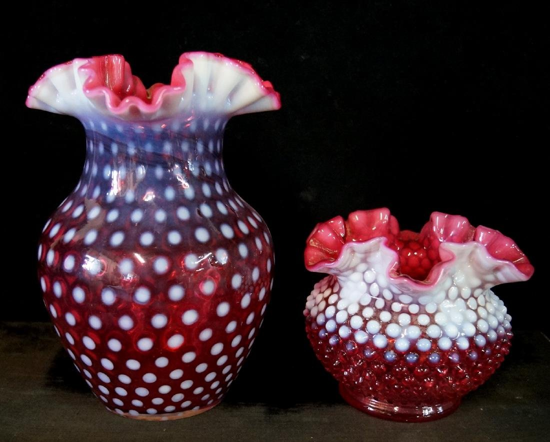 LOT CRANBERRY FENTON GLASS - 2