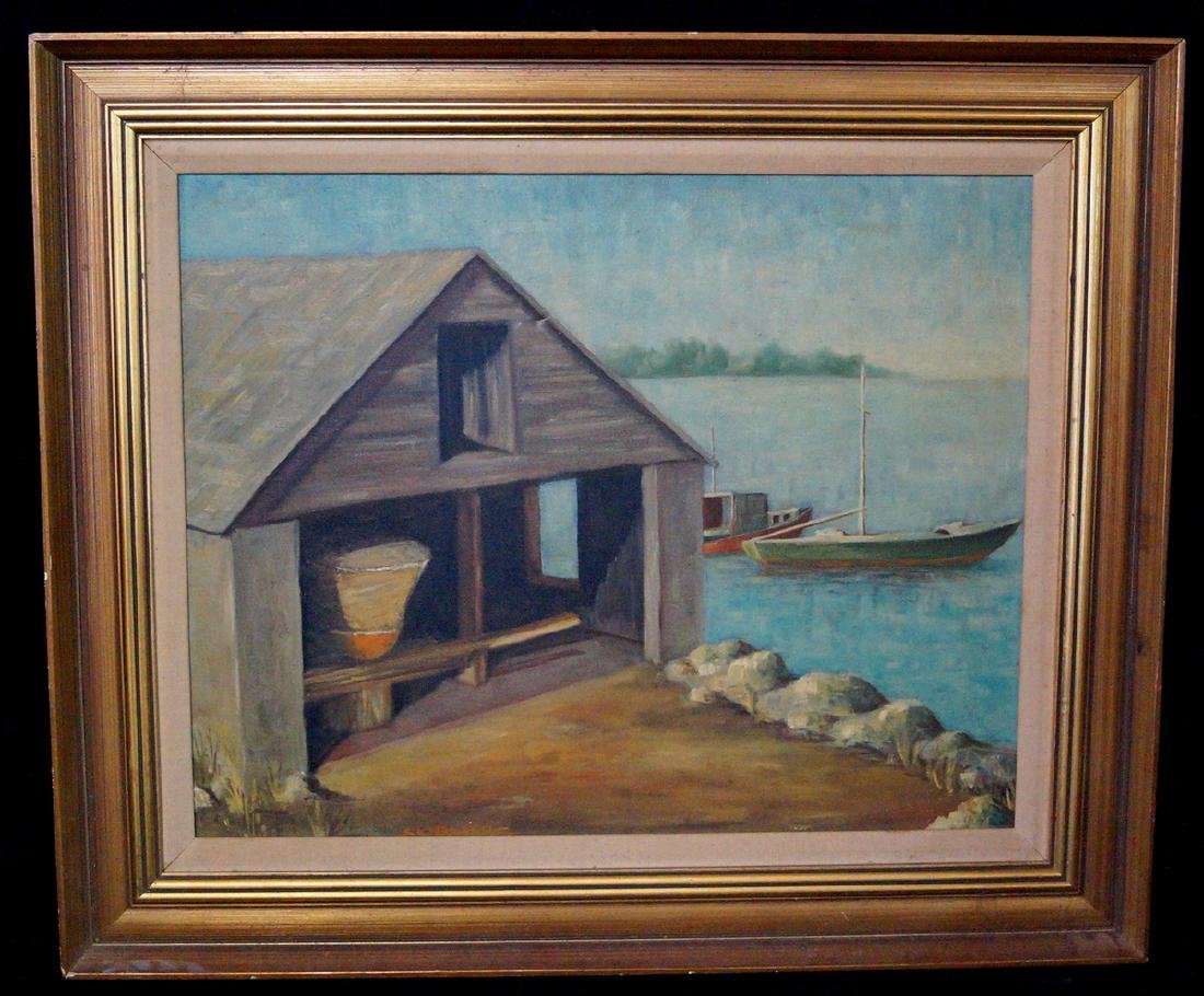 """C.C. NELSON SGN. OIL ON CANVAS """"BOAT HOUSE"""""""