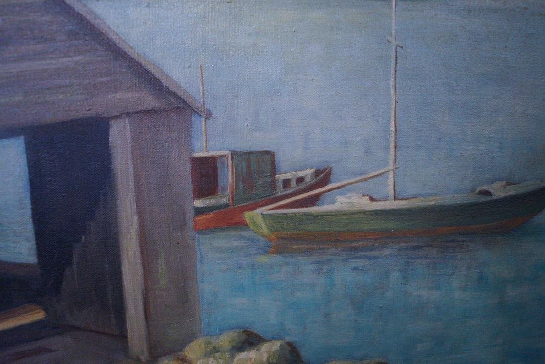 """C.C. NELSON SGN. OIL ON CANVAS """"BOAT HOUSE"""" - 3"""