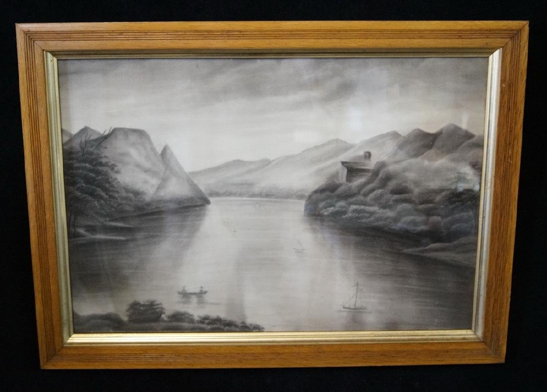 FOLK ART SAND PAINTING HUDSON RIVER LANDSCAPE WITH