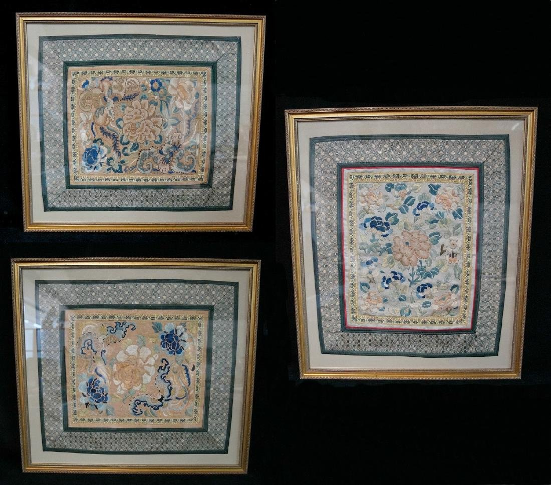 GROUP 3 ASIAN EMBROIDERIES W/ GILT FRAMES