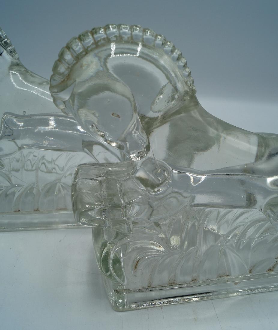 PR.  GLASS HORSE FIGURAL BOOKENDS - 2