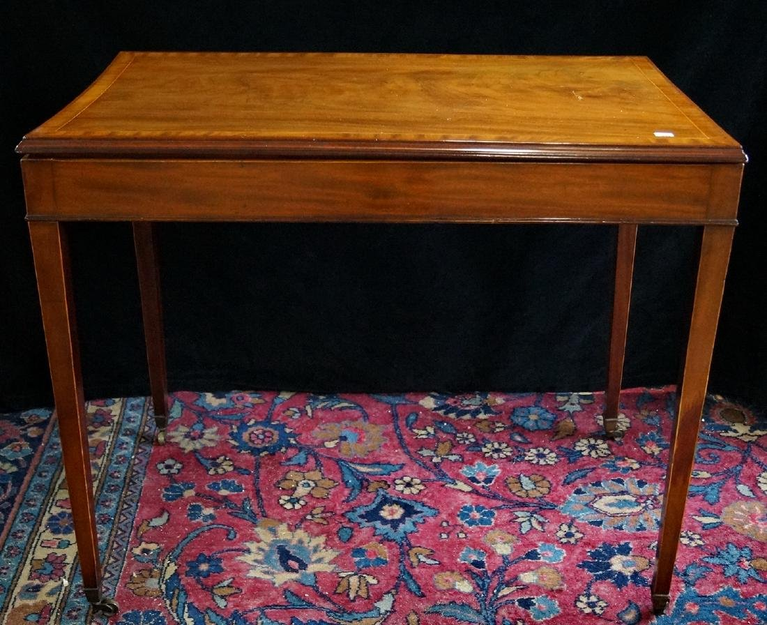 ANTIQUE MOHAGANY INLAID TRICTRAC GAMES TABLE
