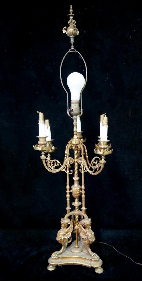 ANTIQUE BRONZE FIGURAL CANDELABRA LAMP